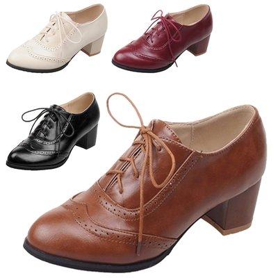 女紳士鞋 復古小皮鞋 women brogues shoes Vancy 黑/米/紅/啡 高貴中跟大碼女童碼 系帶鞋 學院英倫風 28-52碼 sh50#