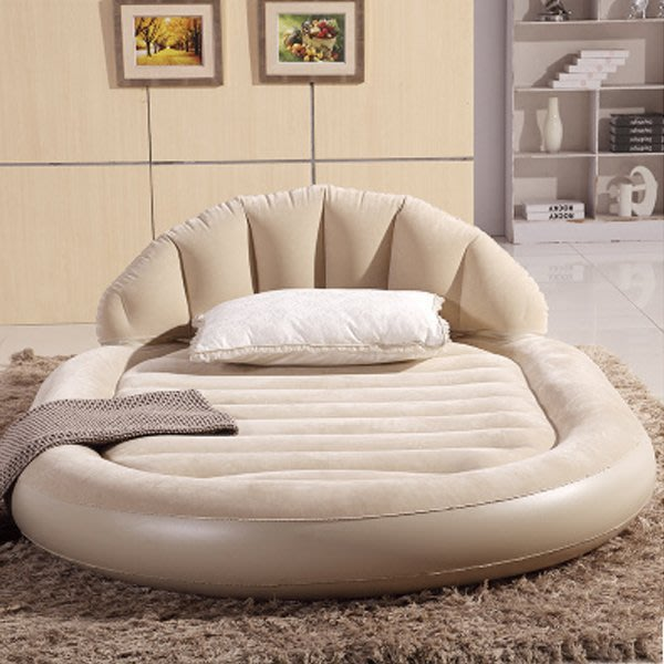 5Cgo【批發】含稅會員有優惠 40828968476 大號豪華圓形充氣床墊靠背氣墊床雙人充氣床懶人床懶人沙發高檔充氣床