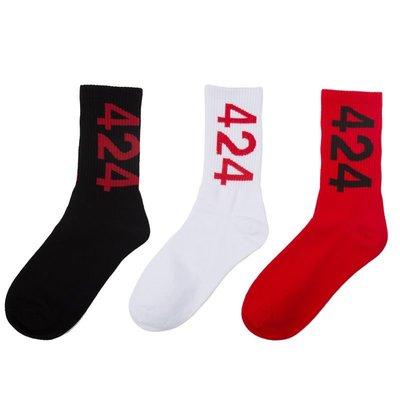 襪子 短襪 長襪 長襪子男歐美數字424滑板襪街頭個性嘻哈潮流情侶中筒女百搭款