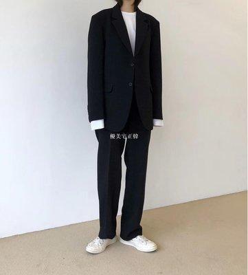 優美宅正韓韓國東大門代購男裝闊腳休閒西褲 +寬松西裝外套時尚正韓潮搭套西