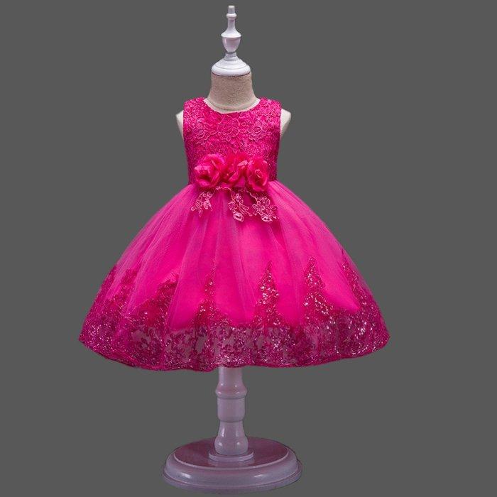 •*~ 辣媽咪衣飾小舖 ~*•❤童裝系列❤K670453韓版大童夏款甜美清新時尚蓬蓬蕾絲亮片可愛公主禮服公主洋裝