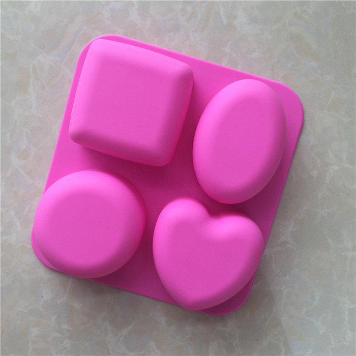 千夢貨鋪-4連不同形狀無圖案手工皂模具肥皂香皂蛋糕食品級硅膠烘焙模具#手工皂#香皂#製作材料#去螨蟲#清潔