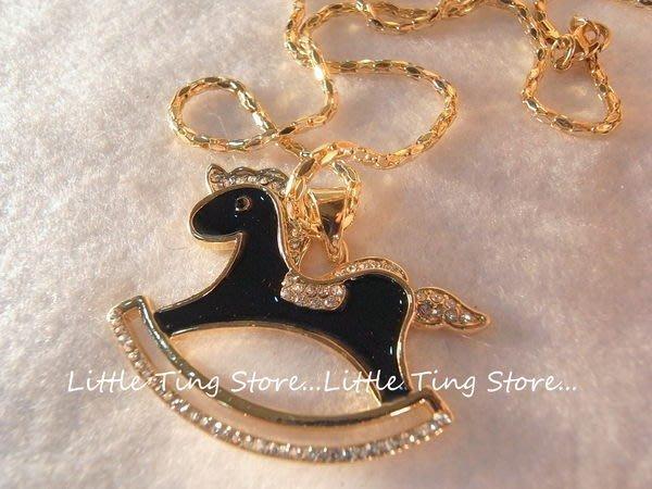 Little Ting Store: 金色底烤漆滴釉搖搖馬長項鍊頸鍊鎖骨鍊 生日禮物