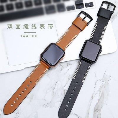 iwatch5 手錶帶 瘋馬皮手工縫線 真皮腕帶 蘋果 apple watch1/2/3/4/5代 雙面頭層牛皮