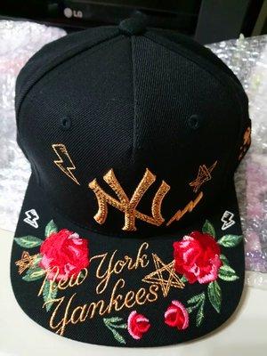 洋基 MLB棒球帽 平沿嘻哈NY洋基隊 刺繡花朵