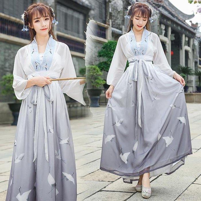民族風改良漢服女繡花九分袖雪紡上衣 中國風齊胸兩穿襦裙表演服