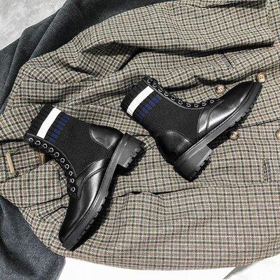 女靴內增高女靴白色女靴子潮牌女靴大尺碼女靴精品女靴大叔家冬季新款彈力靴系帶短靴女百搭馬丁靴粗跟中筒襪子靴女