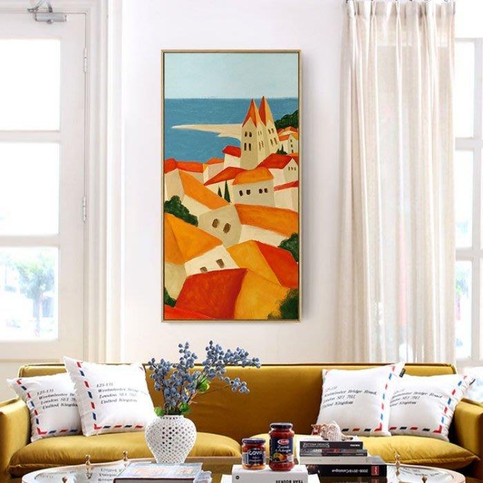 ART。DECO  藍色大海裝飾畫紅瓦房子油畫風格裝飾掛畫船風景掛畫現代簡約小清新海鷗裝飾畫玄關走廊過道牆壁掛畫(4款可