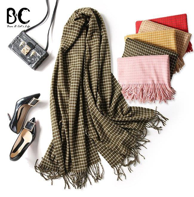 圍巾 韓版小方格紋仿羊絨保暖披肩【B&C】