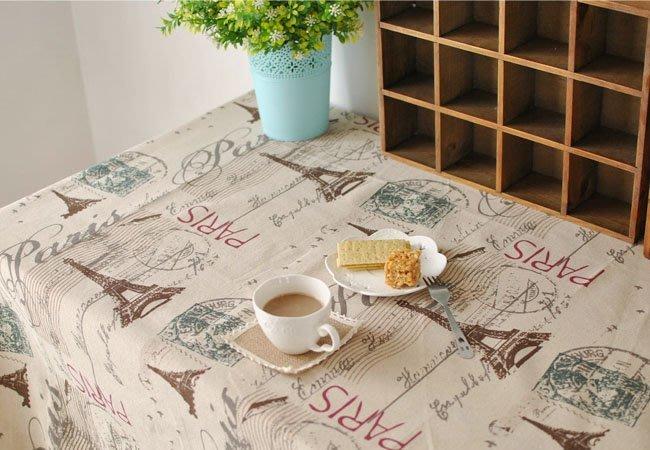 【#016 巴黎鐵塔】 法式浪漫桌布♥圓桌巾♥方桌巾♥天然綿麻桌巾 ♥140*180cm♥