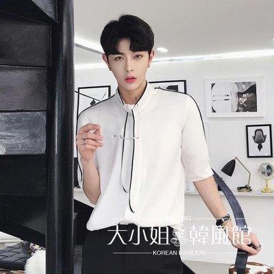 2018夏季薄款襯衫男韓版個性白色發型師青年短袖休閑潮流免燙襯衣
