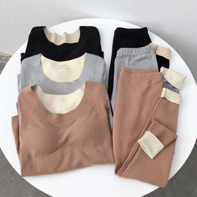 內搭套裝【B7869】發熱德絨bra上衣+長褲3色M-XL.預購。小野千尋
