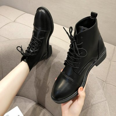 保暖女鞋 機車靴 馬丁靴 時尚百搭馬丁靴女英倫風百搭帥氣春秋單靴厚底機車短靴ins瘦瘦靴