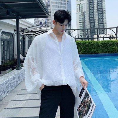 襯衫 韓版 夏季小眾性感透視雪紡波點蕾絲泡泡袖襯衫潮牌男裝寬松chic襯衣男