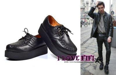 ❤FIFI❤好萊塢歐美underground感高質感百搭耐穿全真牛皮黑色厚底英倫編織龐克鞋tuk附鞋盒+防塵套