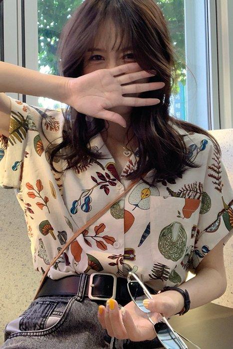 ❤Princess x Shop❤訂製款渡假鄉村風花花襯衫DL907153正韓國連線吊帶褲蕾絲一字領