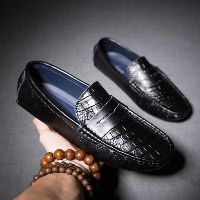 鱷魚紋豆豆鞋英倫商務休閒壓花真皮透氣男鞋懶人套腳鞋船鞋