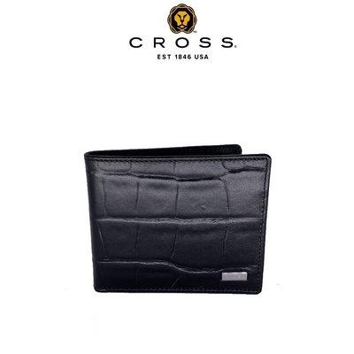 [限量 2.5 折] ~ CROSS ~ 頂級 鱷魚紋 NAPPA 小牛皮 4卡 1零錢袋 男用皮夾 (極緻黑)