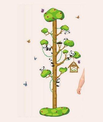 【壁貼之王-山中幸福】無痕不防水傷牆重覆貼卡通身高尺貼 大型《AA-9176小熊爬樹身高貼-寶寶貼》72*高155cm