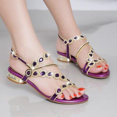 衣萊時尚-水鉆涼鞋女夏平底新款低跟水晶...