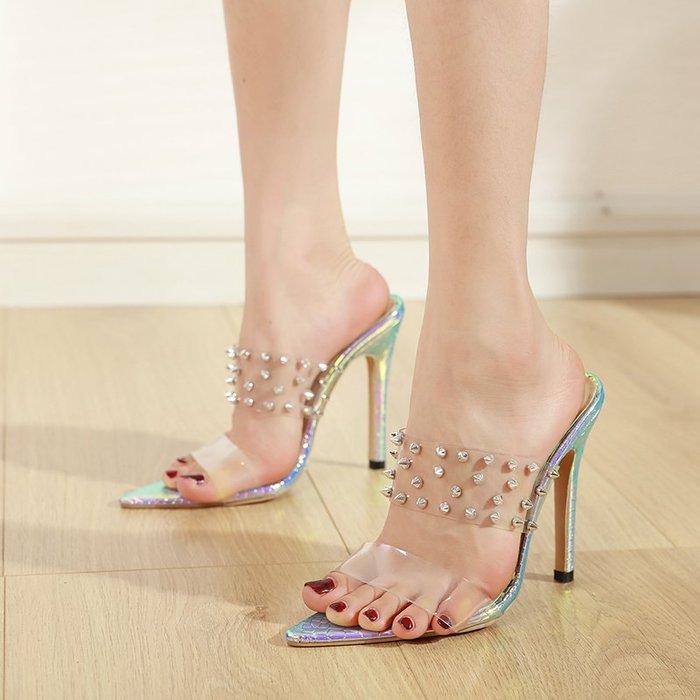 淘鞋季 2020歐洲新款鉚釘水果女鞋 舒適簡約尖頭高跟涼鞋
