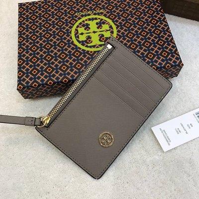 Chris精品代購 美國 Outlet Tory Burch TB 新款 零錢包 名片夾 十字紋牛皮 5卡位 灰色