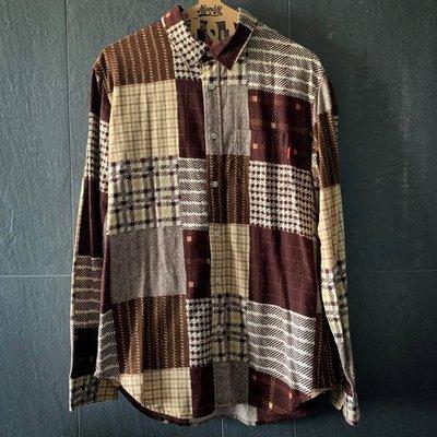 ♡ASENSERI♡ SUPREME PRINTED PATCHWORK FLANNEL SHIRT 法蘭絨拼接襯衫