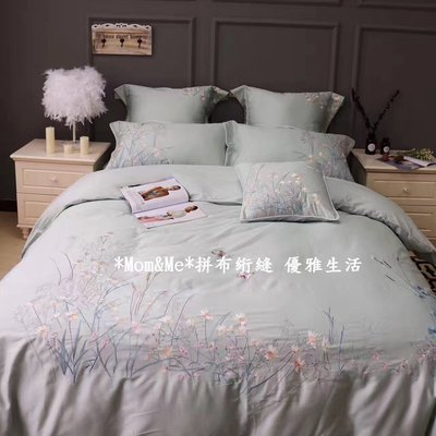 *Mom&Me*遇見春暖花開埃及貢緞雙人床品 4件組〈被套+床單+枕套*2〉