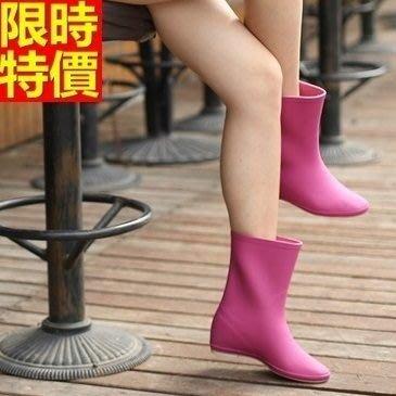 中筒雨靴子 雨具-時尚簡約糖果色內增高女雨鞋子5色66ak26[獨家進口][米蘭精品]