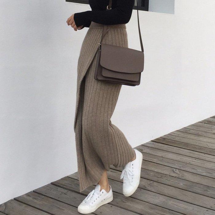 設計款長裙 針織性感側開叉高腰鉛筆裙 艾爾莎【TGK8577】
