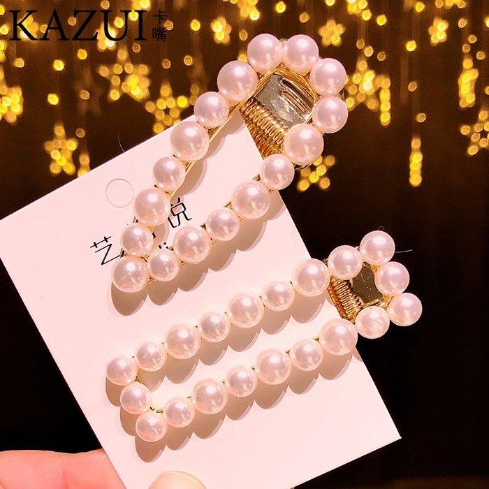 韓國新款頭飾品新款水鉆珍珠鴨嘴夾方夾邊夾韓版發夾爆款頭飾卡子
