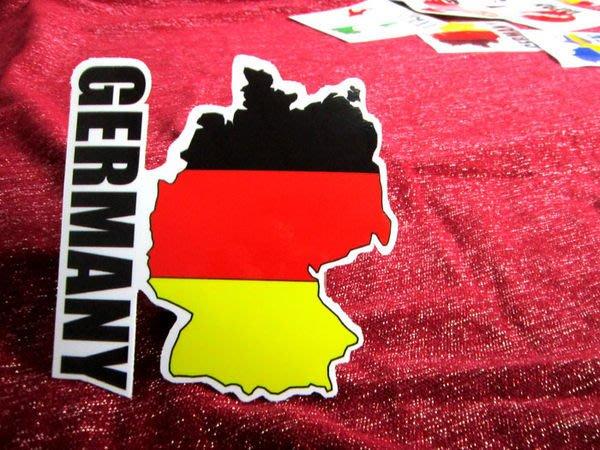 【衝浪小胖】德國旗地圖抗UV、防水登機箱貼紙/Germany/世界多國款可收集和訂製