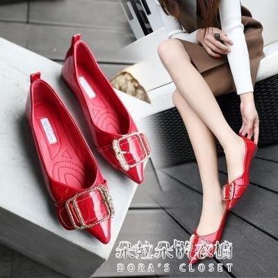 ZIHOPE 平跟單鞋女新款韓版漆皮尖頭水鑽軟底淺口新娘婚鞋淑女鞋ZI812