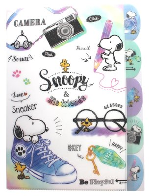 【卡漫迷】 Snoopy 五層 資料夾 相機 ㊣版 手繪 L字型 A4 文件夾 檔案夾 糊塗塔克 史努比 史奴比 L夾