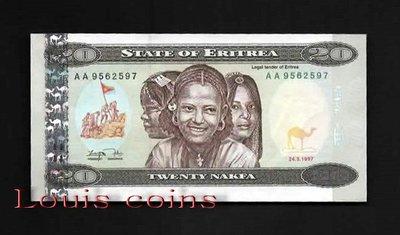 【Louis Coins】B230-ERITREA--1997厄利垂亞紙幣20 Nakfa