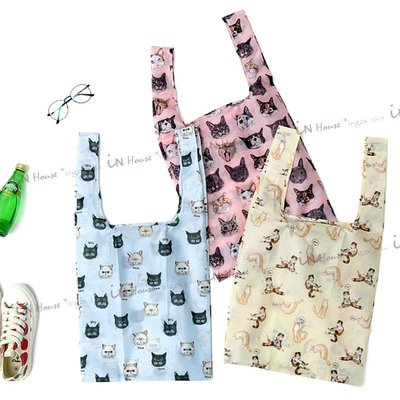 IN House* 現貨?日本可愛貓貓 貓咪 猫咪 摺疊收納袋 托特包 單肩包 手提袋 購物袋 環保袋 輕巧 媽媽包