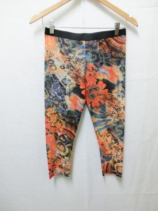 【Kstyle】義大利進口--花朵暈染塗鴉7分絲襪內搭褲