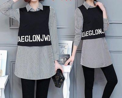 安琪兒╭韓版新款 時尚條紋拼接洋裝兩件套襯衫長版襯衣【Y1422】XL~5XL背心另洋裝T恤上衣 大尺碼