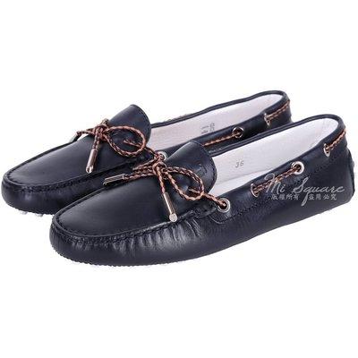 米蘭廣場 TOD'S Gommino 配色編織綁帶牛皮豆豆鞋(女/深藍色) 1520458-34