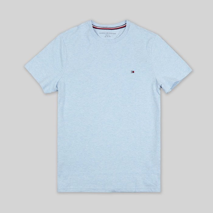 【TOMMY HILFIGER】TOMMY男款短袖素T左小LOGO淡藍 F11180821-07