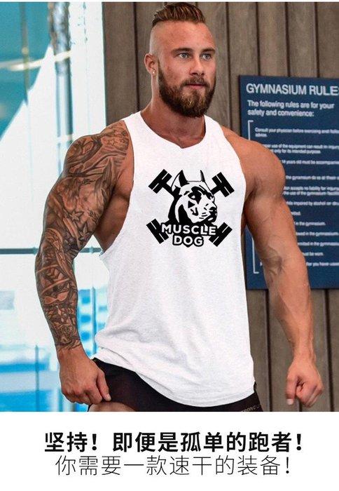 《新款預購》muscle dog印花健身背心男純棉工字背心