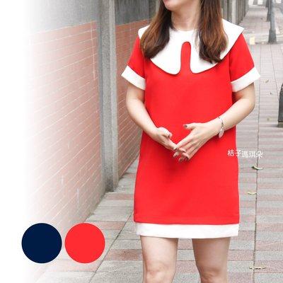 正韓 韓國空運 甜美白領 西裝滑布料 短袖洋 ~桔子瑪琪朵