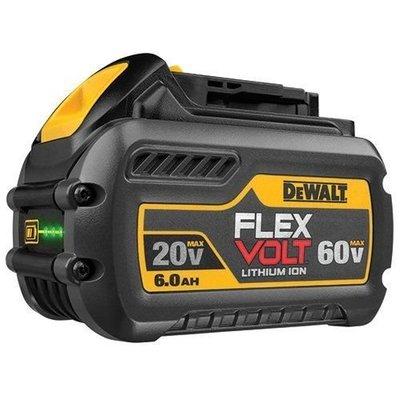 【歐洲進口工具】Dewalt得偉 20V DCB206 6AH 60V/20V電量顯示原廠電池(18V適用) 一年保固