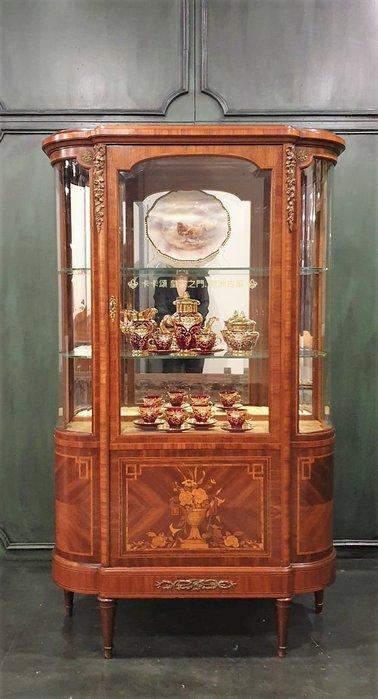 ⚜️Royal Arch皇家之門 . 歐洲古董 ⚜️19世紀 法國百年 手工 桃花心木 純銅  弧面玻璃 展示櫃 珠寶櫃