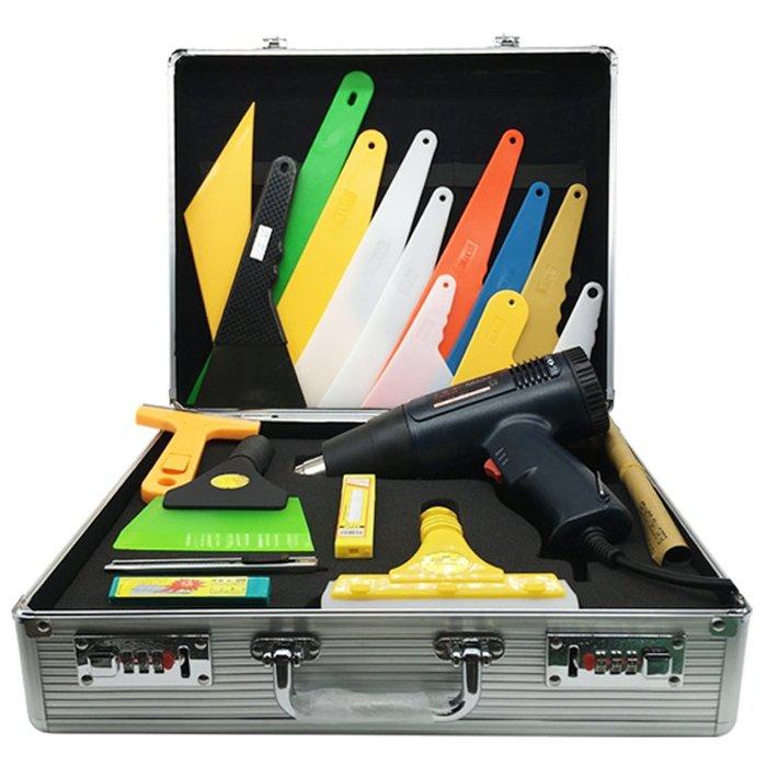聚吉小屋 #鋁合金汽車貼膜工具箱貼膜工具刮板牛筋電烤槍汽車貼膜工具套裝