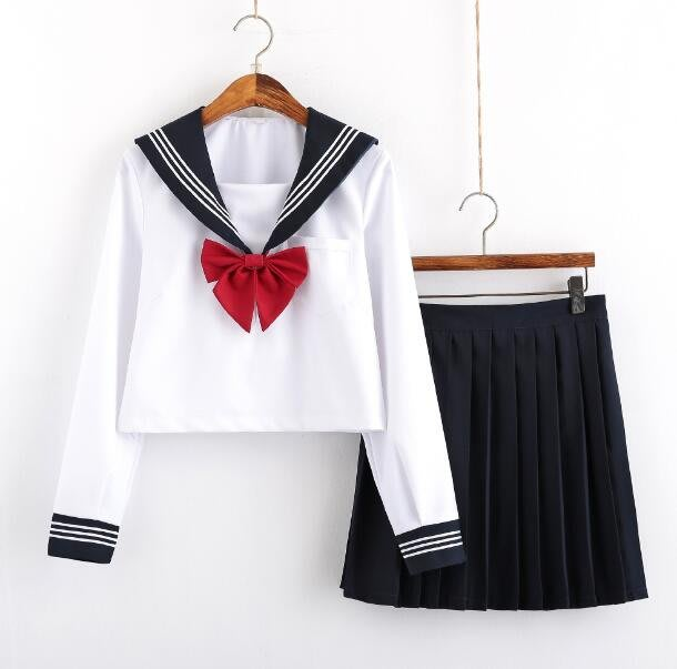 學院風制服短裙 水手服學院風畢業班服 校服套裝—莎芭