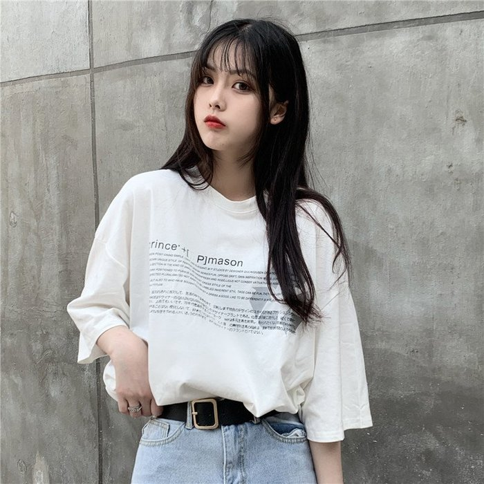小香風 短袖T恤 時尚穿搭 韓版 寬松反光短袖T恤女學生小眾情侶裝白色上衣ins潮