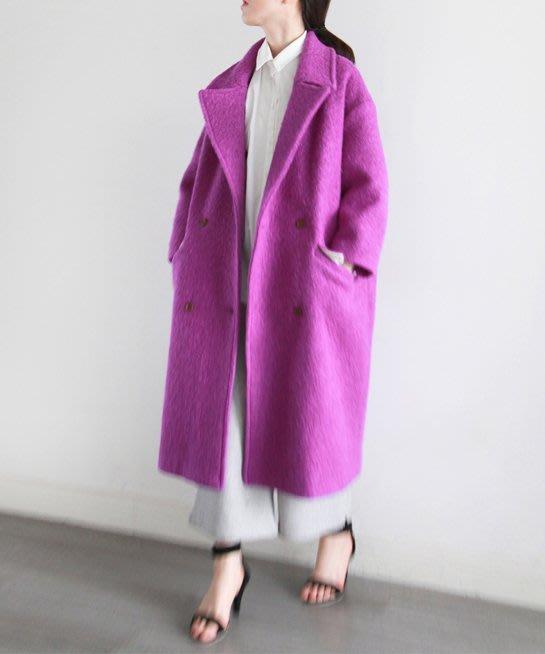 SeyeS  {韓國空運}street雜誌街頭個性復古4色毛呢長版大衣外套