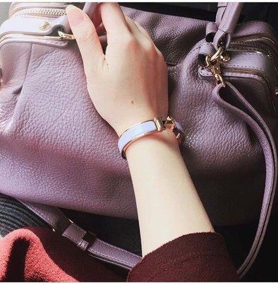 Hermes愛馬仕CLIC H Logo琺瑯搪瓷手環/粉紫X玫瑰金。細版窄版PM手圍。專櫃正品真品/含紙袋紙盒防塵袋緞帶