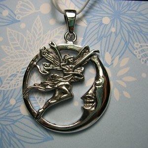 琥珀貓銀飾DIY【925純銀飾品】墜飾~A0020~月亮上的精靈~一個